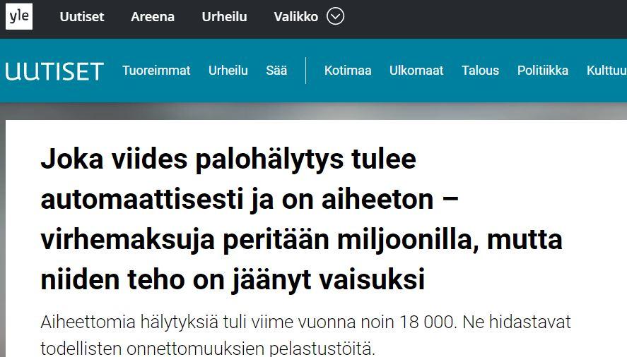 YLE kirjoitti turhista palohälytyksistä